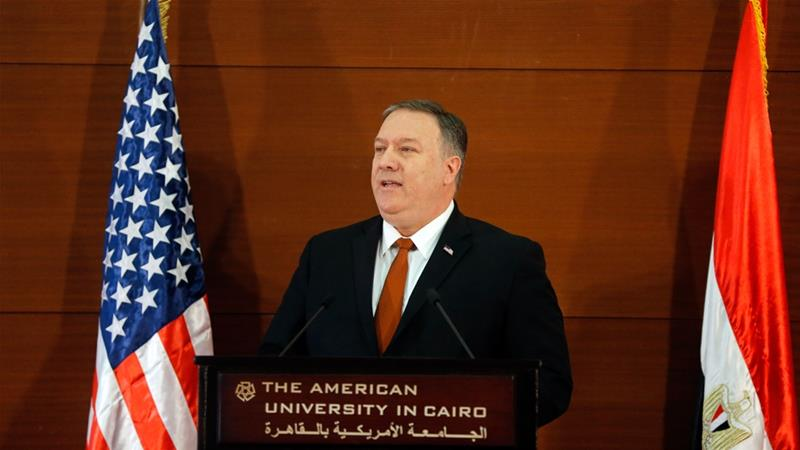 Pompeo repudiates Obama Mideast policy, takes aim at Iran