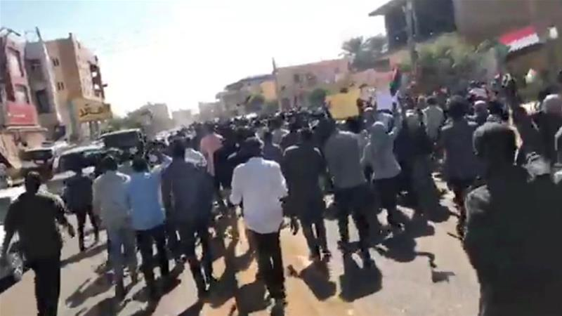 Wednesday's competing rallies followed a month of angry street protests in Sudan [Haitham Seo/via Reuters]