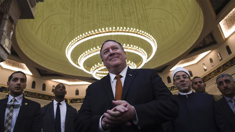 Pompeo is visiting the Middle East to rally support for US policy [Andrew Caballero-Reynolds/AP Photo]