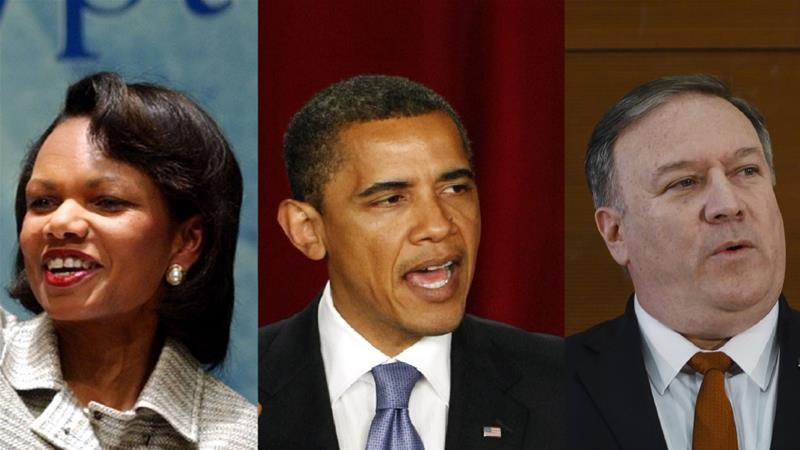 Condoleezza Rice, Barack Obama and Mike Pompeo delivered speeches in Cairo respectively in 2005, 2009 and 2019 [File: AP]