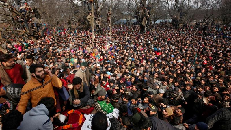 Image result for India security forces open fire at Kashmir funeral, 11 injured