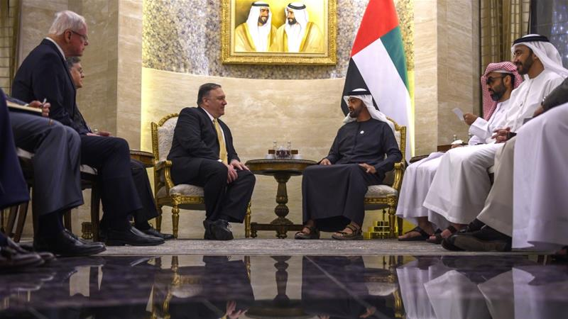 Abu Dhabi's Crown Prince Sheikh Mohammed bin Zayed Al Nahyan, right, speaks with Secretary of State Mike Pompeo during a meeting at Al-Shati Palace in the UAE capital Abu Dhabi on Saturday, January 12, 2019 [File: Andrew Caballero-Reynolds AP]