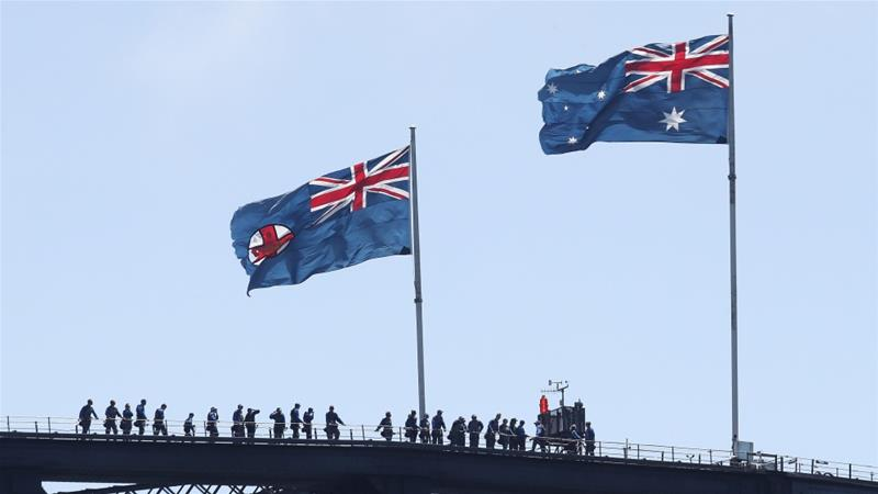 Australia Day marks the anniversary of the 1788 arrival of the first British fleet to Sydney Cove where the British flag was raised on the continent marking the start of colonisation [File: Getty]