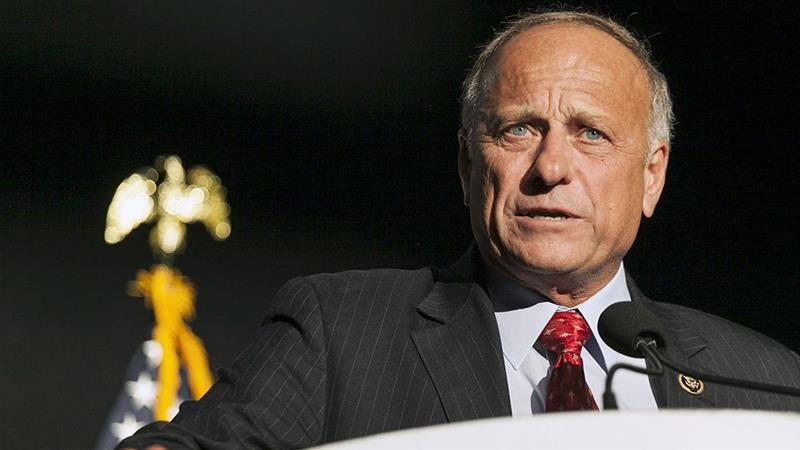 Iowa Representative Steve King speaks at the Iowa Faith and Freedom Coalition Forum in Des Moines, Iowa in 2015 [File: Brian C Frank/Reuters]
