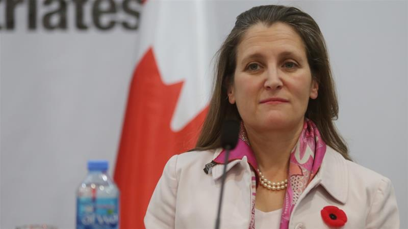 Canadian Foreign Minister Chrystia Freeland said that Canada is working with Burkina Faso to bring those responsible to justice [AIssam Rimawi/Anadolu Agency]