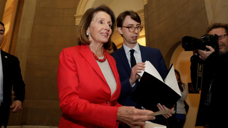 Though Pelosi issued a customary invite to Trump weeks ago, she has hit the president in a vulnerable place [Yuri Gripas/Reuters]