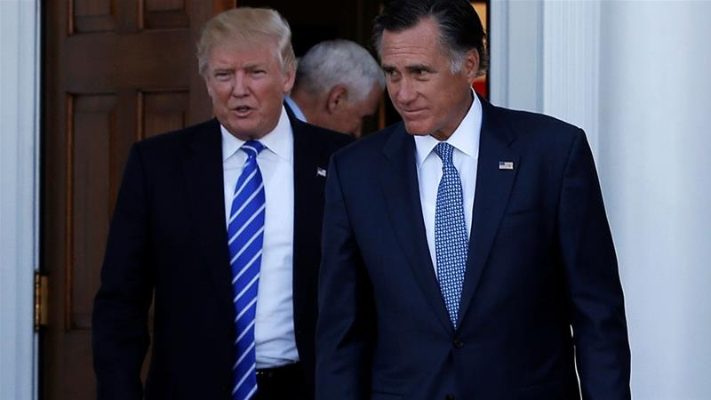 Romney criticised a number of Trump's actions in December [File: Mike Segar/Reuters]