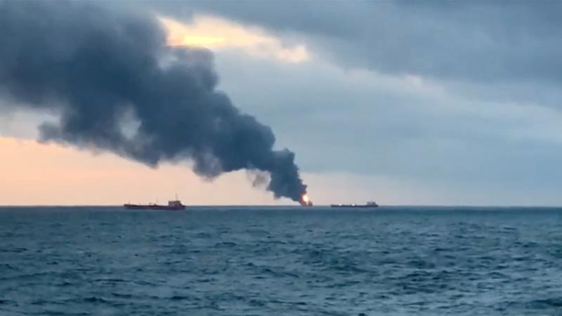 The accident happened close to Kerch Strait, a new flashpoint in tensions between Russia and Ukraine [Reuters TV]