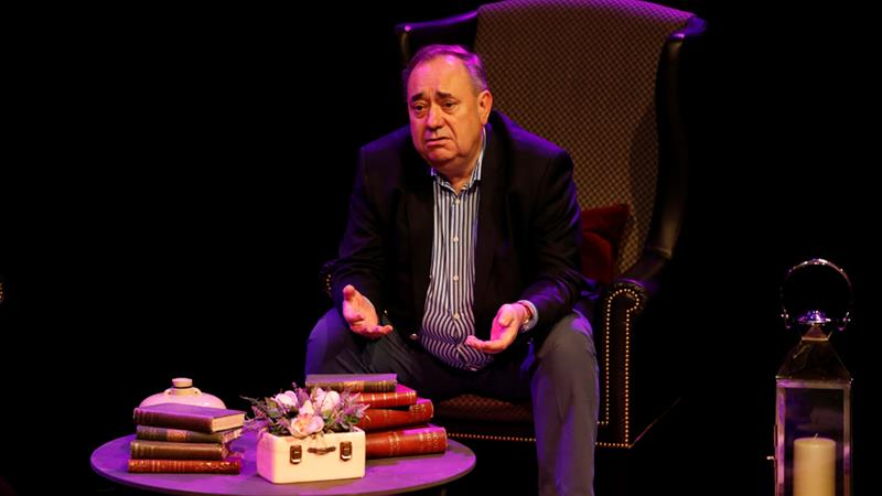 The former first minister of Scotland on stage before his show Alex Salmond Unleashed at the Edinburgh Fringe [Russell Cheyne/Reuters]