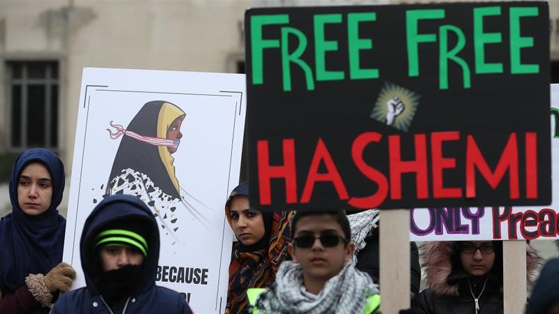 Dozens of activists protested outside a court in Washington for Hashemi's release [Mark Wilson/Getty]