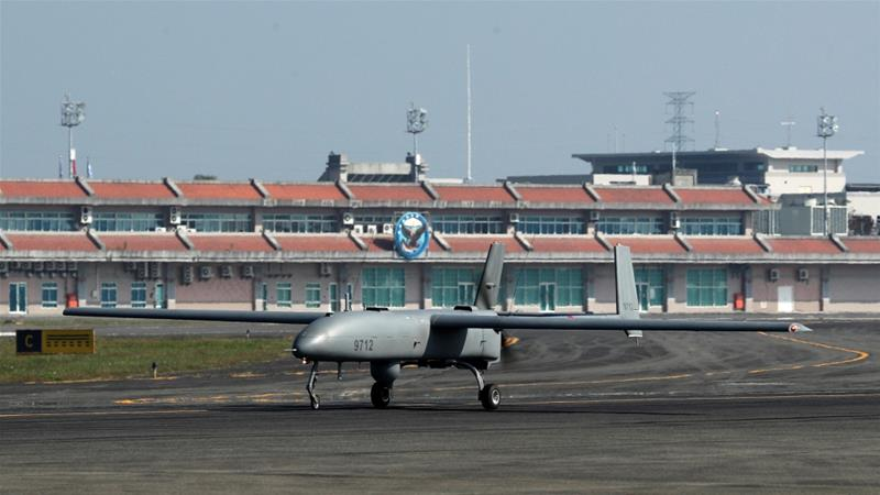 Taiwan's navy on Thursday showed off its latest long-range surveillance drone [Tyrone Siu/Reuters]