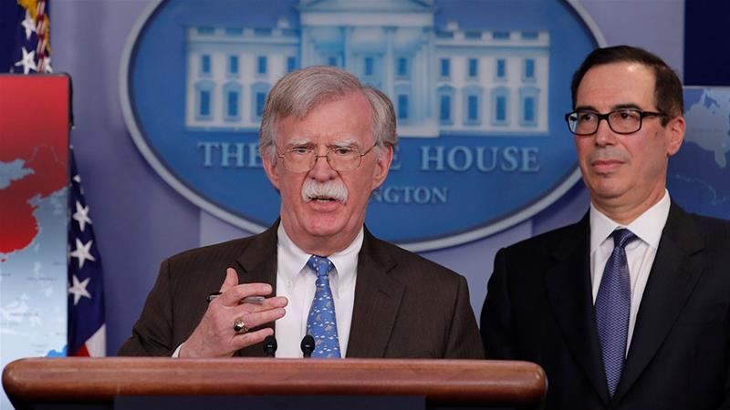 White House National Security Adviser John Bolton and Treasury Secretary Steven Mnuchin announce economic sanctions against Venezuela and the Venezuelan state owned oil company