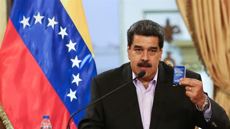 Venezuela's self-proclaimed president Guiado speaks with Trump