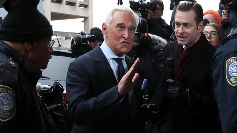 Roger Stone, longtime political ally of US President Donald Trump, arrives for his arraignment at US District Court in Washington, DC [File: Leah Millis/Reuters]