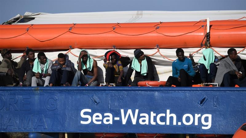 Among those rescued are at least 13 minors, and their stay at sea had taken its toll on them, the Sea-Watch crew said  [Salvatore Cavalli/AP]