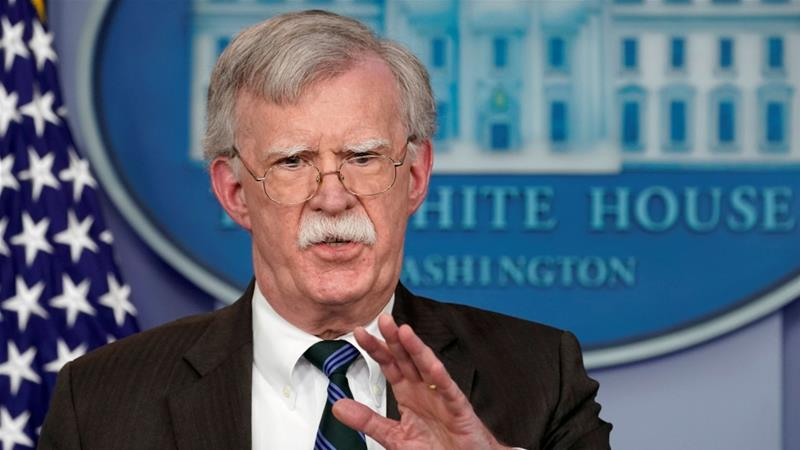 US President Donald Trump's national security adviser, John Bolton, speaks during a press briefing at the White House in Washington, US [File: Kevin Lamarque/Reuters]