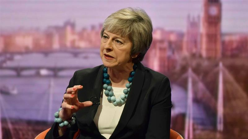 May has said MPs who vote against her Brexit plan would risk damaging Britain's democracy [Jeff Overs/BBC/Handout via Reuters]