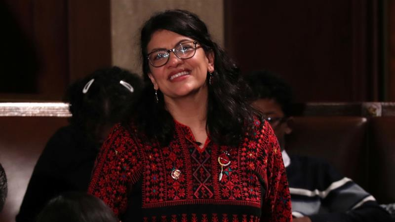 US Representative Rashida Tlaib looks up into the gallery during the first session of the new Congress at the US Capitol in Washington January 3, 2019 [File: Jonathan Ernst/Reuters]