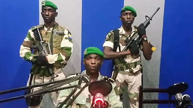 In this video grab, Gabon soldiers call on the people to 'rise up' against President Ali Bongo [YouTube via AFP]