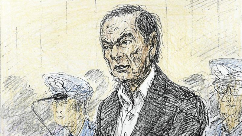A court sketch, drawn by Nobutoshi Katsuyama, shows sacked Nissan chairman Carlos Ghosn during a hearing on his continued detention at Tokyo District Court [Kyodo via Reuters]