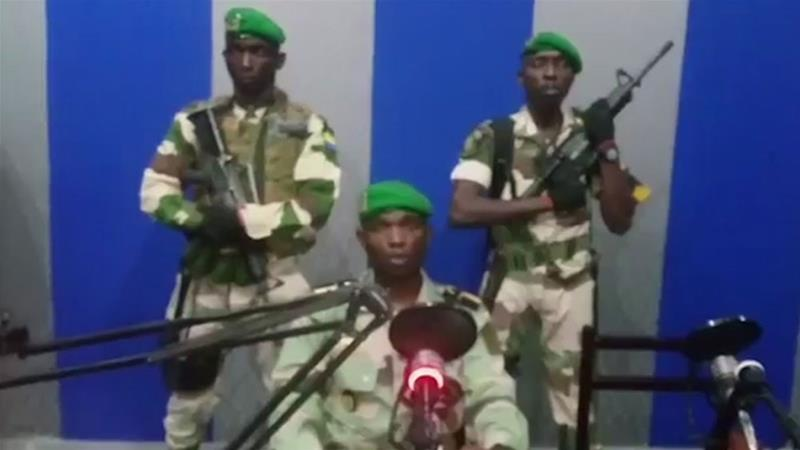 Renegade soldiers said on Monday they were taking control of the government [Gabon State TV via AP]