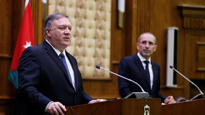 Pompeo will also visit Egypt, Bahrain, Qatar, Saudi Arabia, Oman and Kuwait on his Middle East tour [Muhammad Hamed/Reuters]