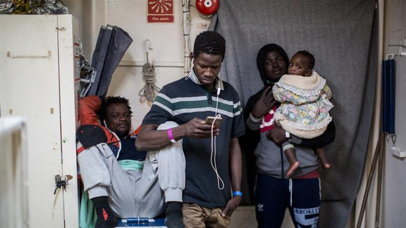 Rescued migrants stranded in the Mediterranean