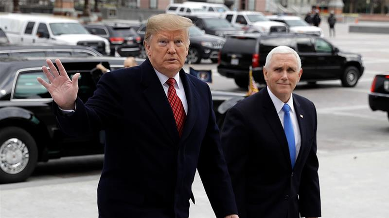 Trump and Pence arrive to attend a Senate Republican policy lunch on Capitol Hill [Evan Vucci/AP Photo]
