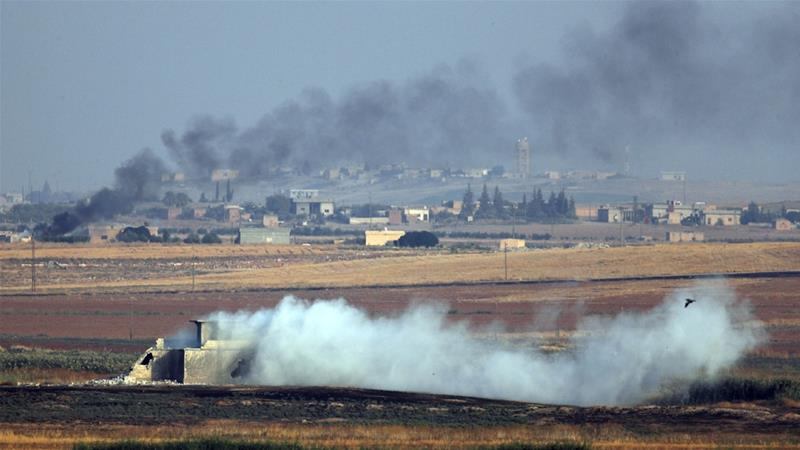 Smoke billows from targets inside Syria during bombardment by Turkish forces following Turkey's military operation against Kurdish fighters in northeastern Syria [Lefteris Pitarakis/AP Photos]