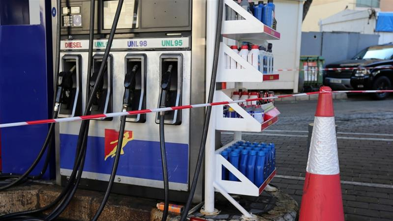 Several petrol stations in Beirut were cordoned off with tape on Friday amid growing fears of a financial collapse [File: Mohamed Azakir/Reuters]