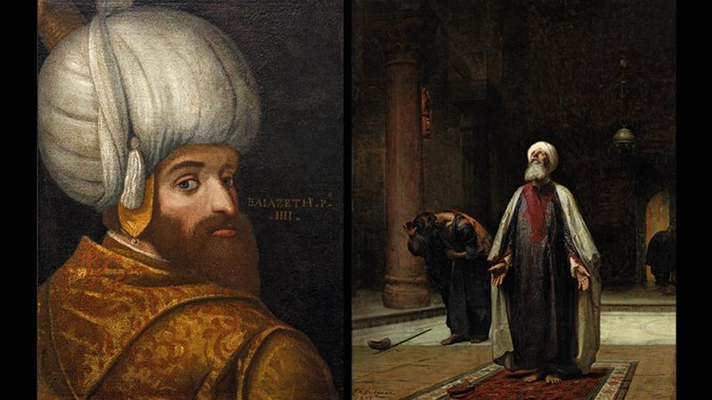Left: A Portrait of Sultan Bayezid I, c. 1580. Right: The Prayer, oil on canvas, 1877, by American  painter Frederick Arthur Bridgman 1847–1928 [Courtesy: Islamic Arts Museum Malaysia/British Museum]