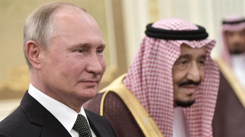 Russian President Vladimir Putin with Saudi Arabia's King Salman in Riyadh [Reuters]