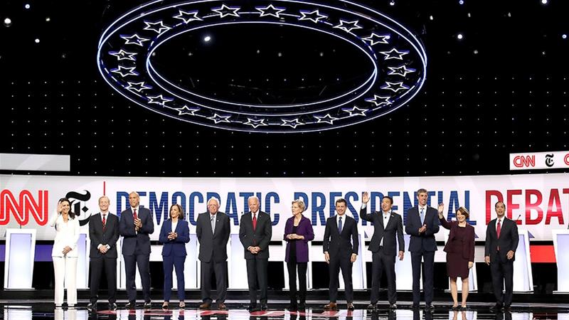 Twelve Democratic presidential hopefuls take the stage at the October debate in Ohio [File: Win McNamee/Getty Images/AFP]