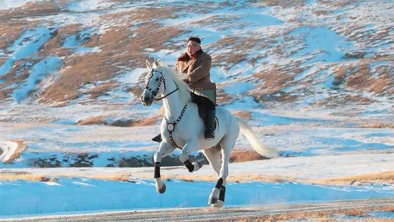 Mt Paektu and white horses have symbolic value for the Kim family, North Korea's ruling dynasty [KCNA via AP Photo]
