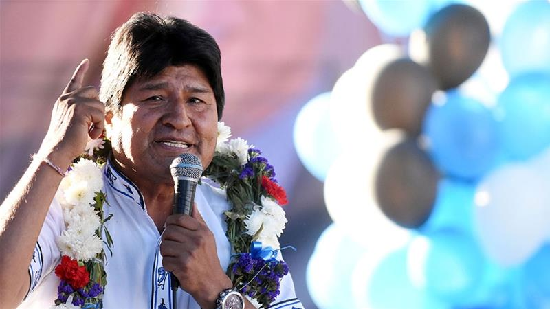 Bolivia's President Evo Morales speaking during a campaign rally in [Courtesy of Bolivian Presidency/Handout via Reuters]