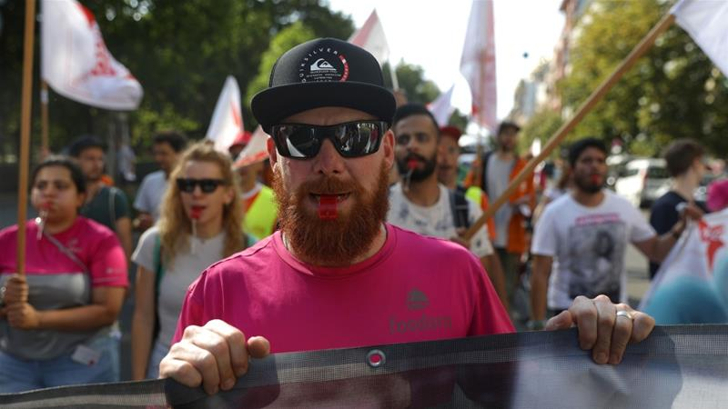 Food-delivery service workers in Germany took to the streets of Berlin to demand better working conditions in August [File: Krisztian Bocsi/Bloomberg]
