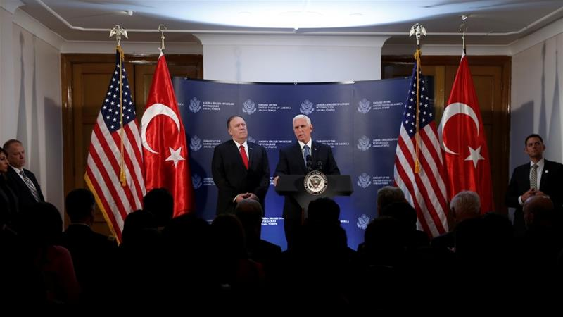 US Vice President Mike Pence said Washington and Ankara have agreed to a ceasefire in northeast Syria. [Huseyin Aldemir/Reuters]