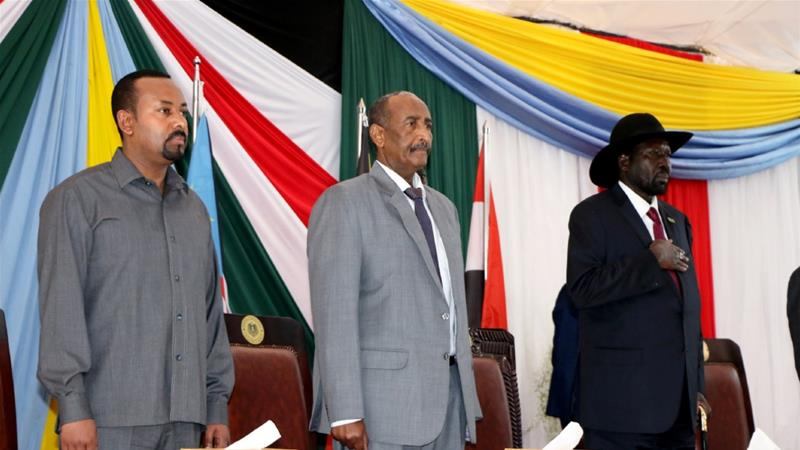 Ethiopian Prime Minister Abiy Ahmed, Leader of Sudan's transitional council, Abdel Fattah Al-Abdelrahman Burhan and South Sudan's President Salva Kiir meet in Juba, South Sudan [Jok Solomon/Reuters]