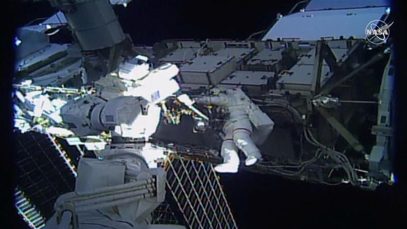 United States astronaut Jessica Meir walks outside the International Space Station, marking a milestone on Friday that saw the first-ever all-woman spacewalk [NASA TV/Reuters]