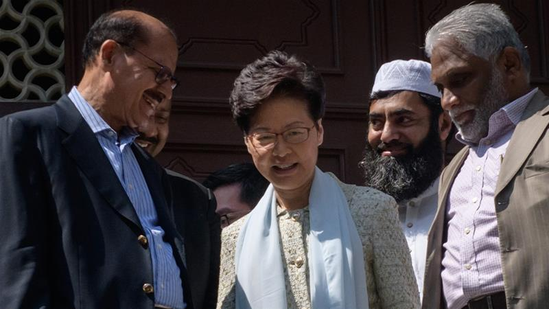 Hong Kong Chief Executive Carrie Lam visited the Kowloon Mosque after it was struck with blue dye from a water cannon truck during violent protests the day before. [Ed Jones/AFP]