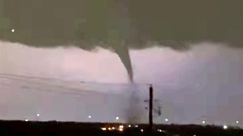 A tornado is seen in Dallas, Texas on Sunday night in this video screengrab [Philip Ellis via Reuters]