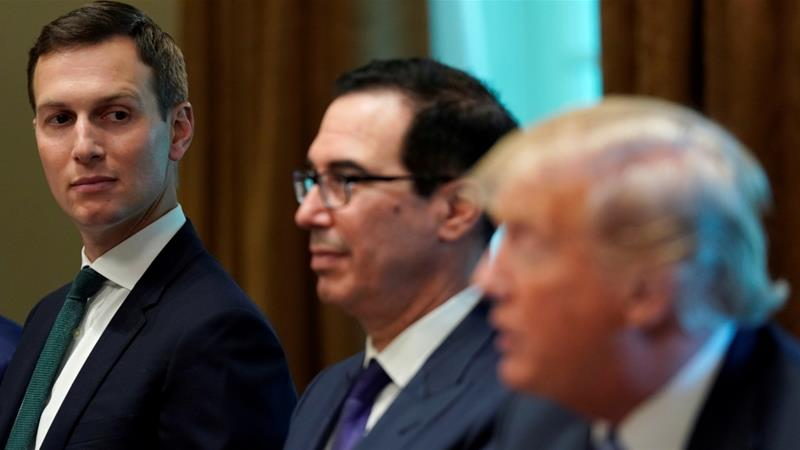 White House senior adviser Jared Kushner, left, and Treasury Secretary Steven Mnuchin, centre, are expected to attend the Saudi investment conference next week [Kevin Lamarque/Reuters]