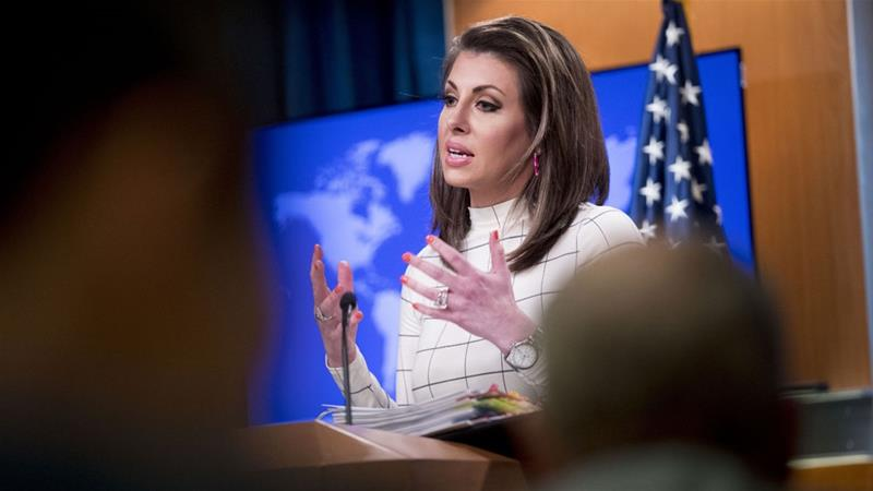 State Department spokeswoman Morgan Ortagus rejected Chinese allegations [Andrew Harnik/AP]