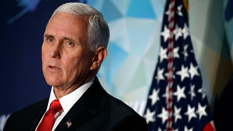 Vice President Mike Pence sharply criticised China, as well as US companies doing business with China in a speech on Thursday.  [Jacquelyn Martin/AP Photo]