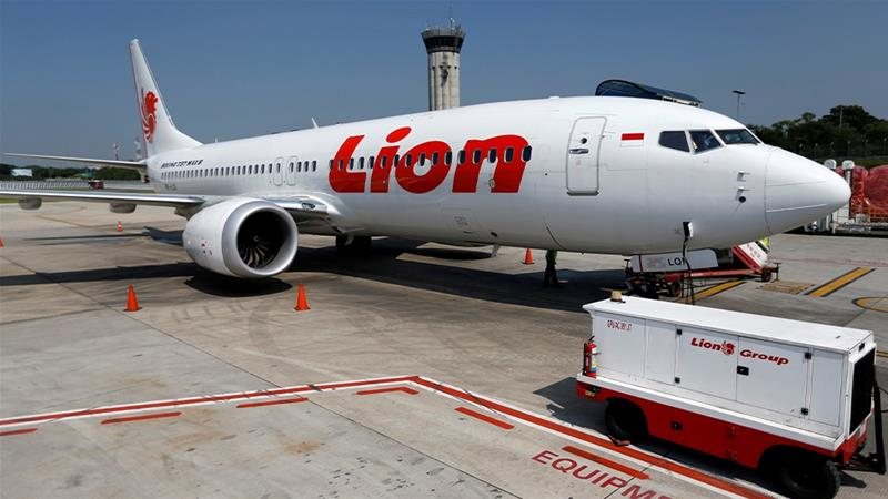 A Lion Air Boeing 737 MAX on the tarmac at the airport in Jakarta. An Ethiopian 737 MAX crashed five months after the Lion Air plane leading to a global grounding of the aircraft. [File: Willy Kurniawan/Reuters]