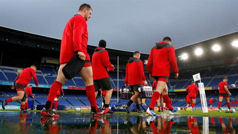 Wales are used to playing in the damp conditions they'll likely face in Yokohama for their semi-final against South Africa [Matthew Childs/Reuters]