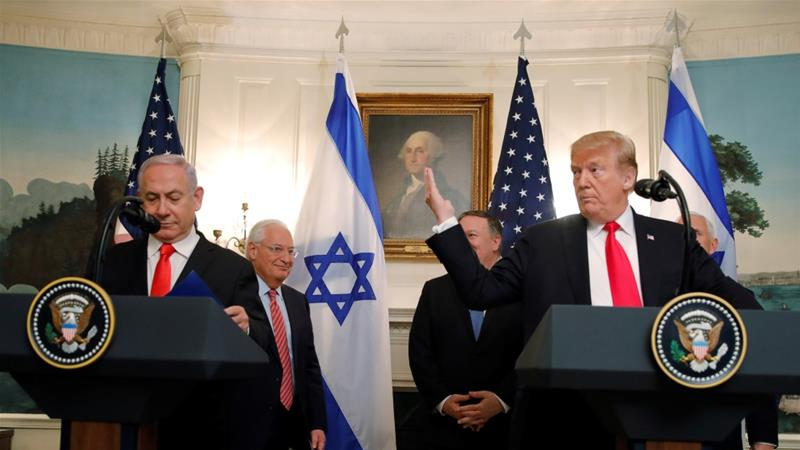 File: US President Donald Trump gestures as he and Israel's Prime Minister Benjamin Netanyahu deliver statements at the White House in Washington, US, March 25, 2019 [Carlos Barria/Reuters]