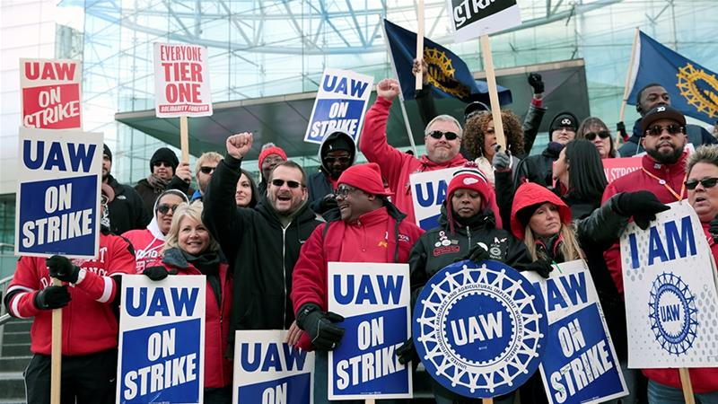 The United Auto Workers on Friday approved a deal for a new four-year labour contract with General Motors, ending a 40-day US automotive work stoppage, the longest since 1971 [File: Rebecca Cook/Reuters]