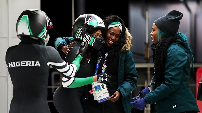 The Nigerian women's bobsleigh team made Olympic history last year as the first Africans to compete in the event at the Winter Games in South Korea [File: Alexander Hassenstein/Getty Images]