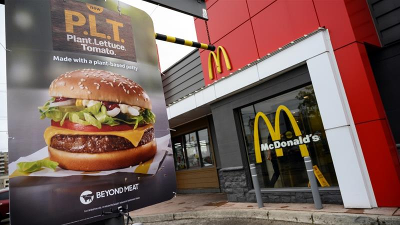 McDonald's is testing 'PLT' (plant, lettuce and tomato) burgers with Beyond Meat's plant-based patties at 28 restaurant locations in Canada [Moe Doiron/Reuters]